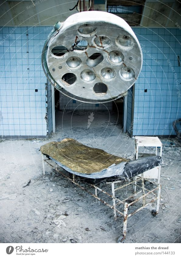 Old Bed Lamp Dirty Hall Broken Derelict Hospital Decline Ruin Shabby Destruction Vacancy Operating table Tumbledown