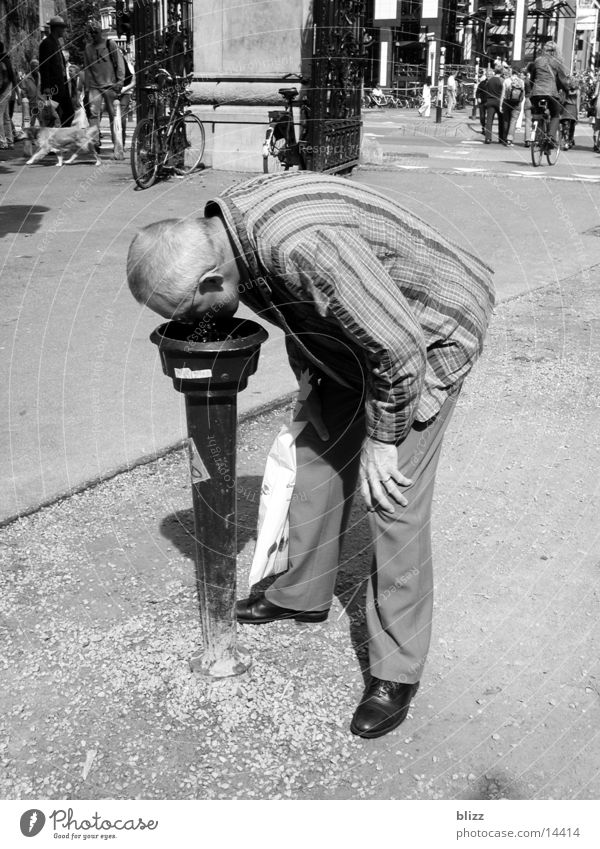 thirst Drinking Man Beverage Thirst water dispenser Black & white photo thirsty