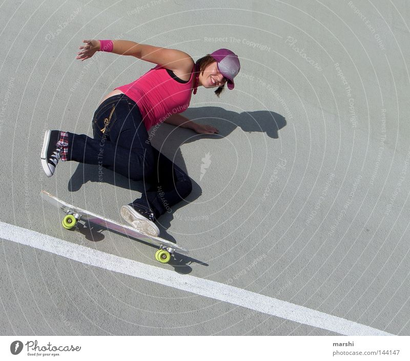 Skater Girl Skateboarding Swing Leisure and hobbies Pink Style Kick Sports Body control Concrete Street art Emotions Grinning Joy skateboarder Wooden board