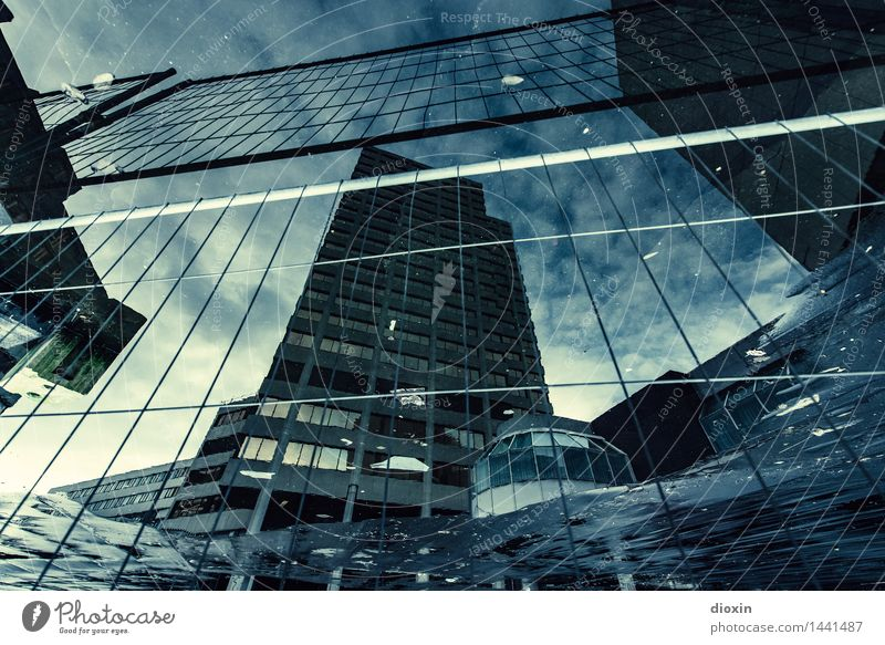 Sky City Clouds Cold Architecture Building Germany High-rise Europe Wet Construction site Manmade structures Capital city Downtown Trashy Surrealism
