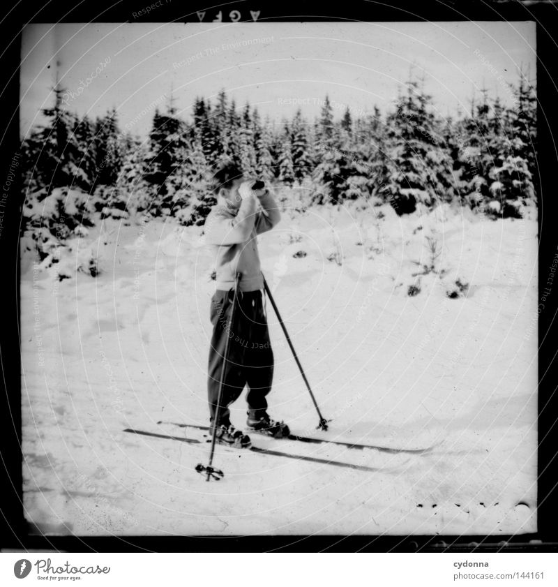 Human being Man Old Winter Forest Life Cold Sports Emotions Movement Time Photography Skiing Break Transience Tracks