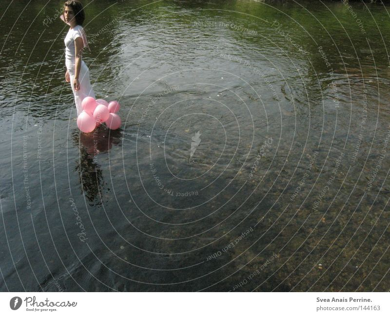 I want to be free at last, but where should I go? Water River Lake Cold Loneliness Beautiful Grief Timidity White Pink Reflection Nature Dress Balloon Wing