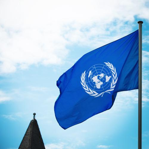 70 Years United Nations Sky Clouds Beautiful weather Wind Spire Sign Flag Advice Movement Esthetic Authentic Together Positive Blue White Acceptance Safety