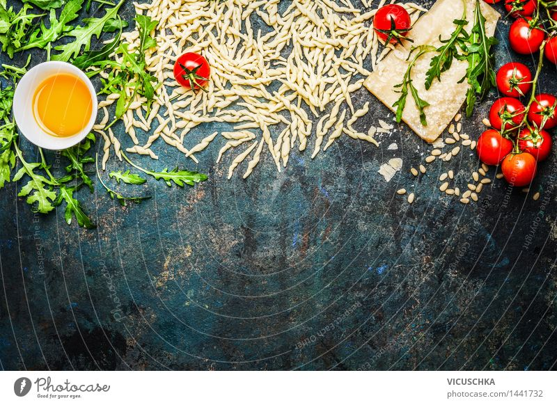 Noodles with tomatoes and ingredients for cooking Food Vegetable Lettuce Salad Grain Herbs and spices Cooking oil Nutrition Lunch Dinner Buffet Brunch