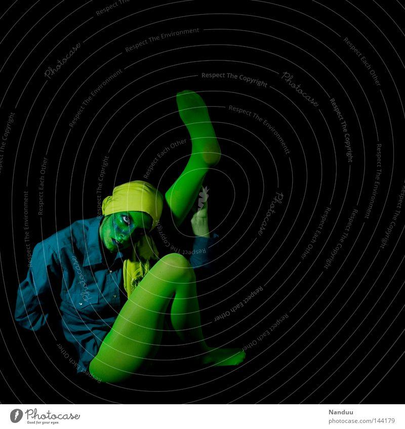 Human being Blue Green Black Calm Yellow Dark Playing Emotions Sadness Dream Art Dance Grief Posture Cloth
