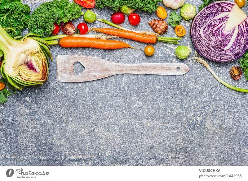 Fresh vegetable ingredients and cooking spoon Food Vegetable Nutrition Dinner Banquet Organic produce Vegetarian diet Diet Slow food Spoon Style Design Healthy