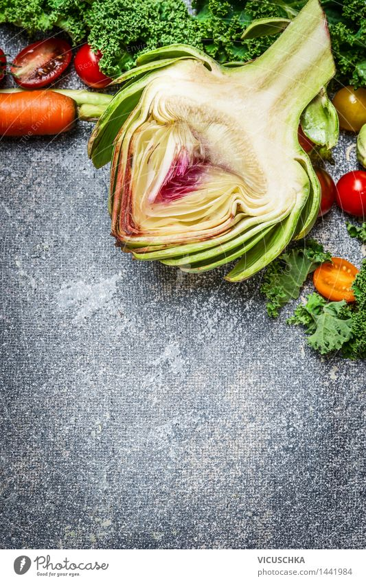 Artichoke and vegetable ingredients for cooking Food Vegetable Lettuce Salad Nutrition Organic produce Vegetarian diet Diet Lifestyle Style Design