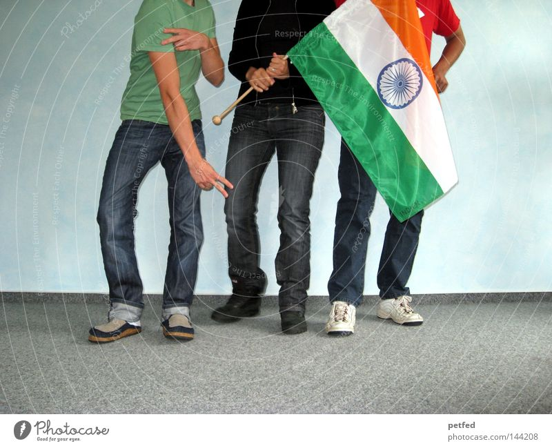 Here we go... Vacation & Travel Human being India Flag Legs Joy Life Asia Youth (Young adults) Tension fun