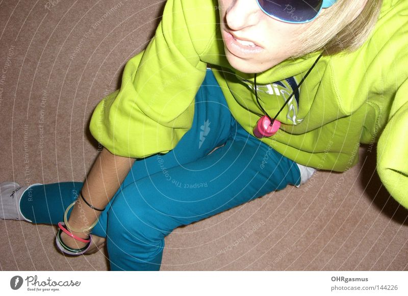 aldidas Joy Party Neon light Green Turquoise Pink Youth (Young adults) Entertainment New Wave electro Sportswear Bad Sense of taste Tasteless Flashy Party goer