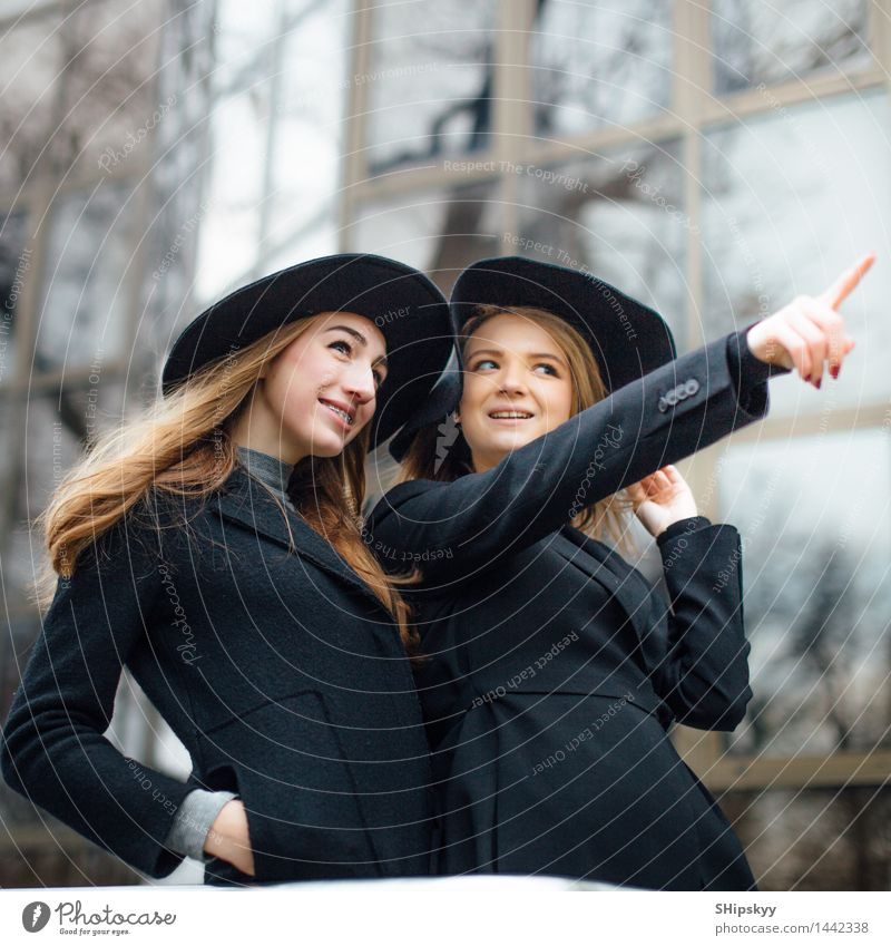 Two adults girls talking and smiling Human being Woman Youth (Young adults) Beautiful Young woman White Hand 18 - 30 years Black Face Adults Eyes Movement Style Laughter Friendship