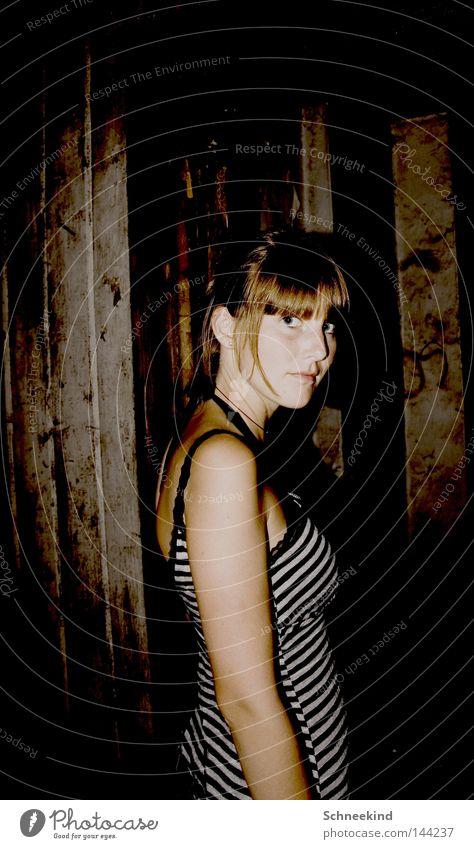 Woman White Face Black Wood Fear Broken Italy Transience Stripe Lady Derelict Hut Sudden fall Panic Destruction