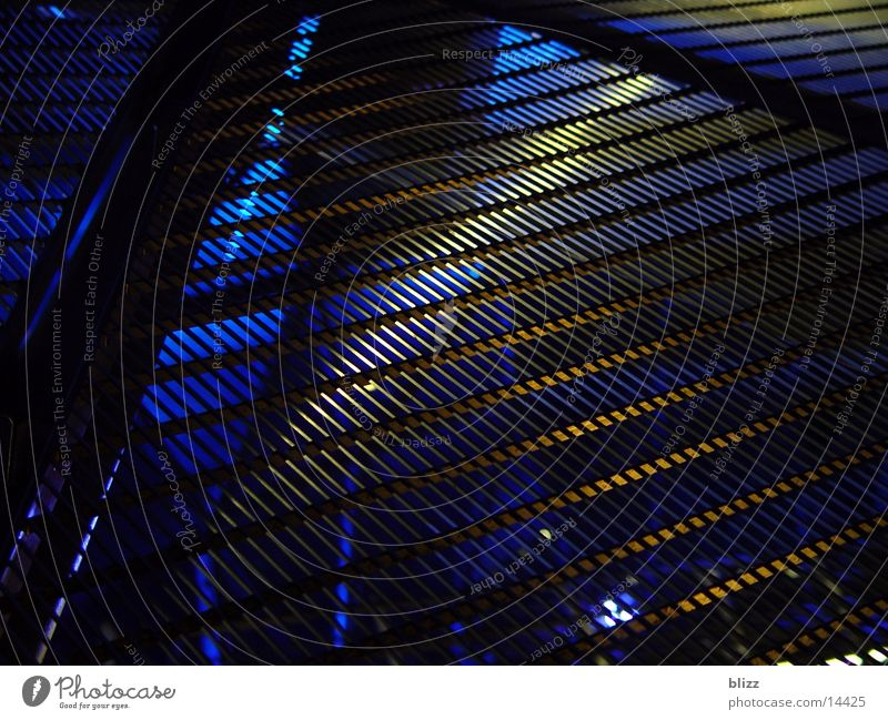 Blue Black Metal Architecture Transparent Grating Graz Beam of light