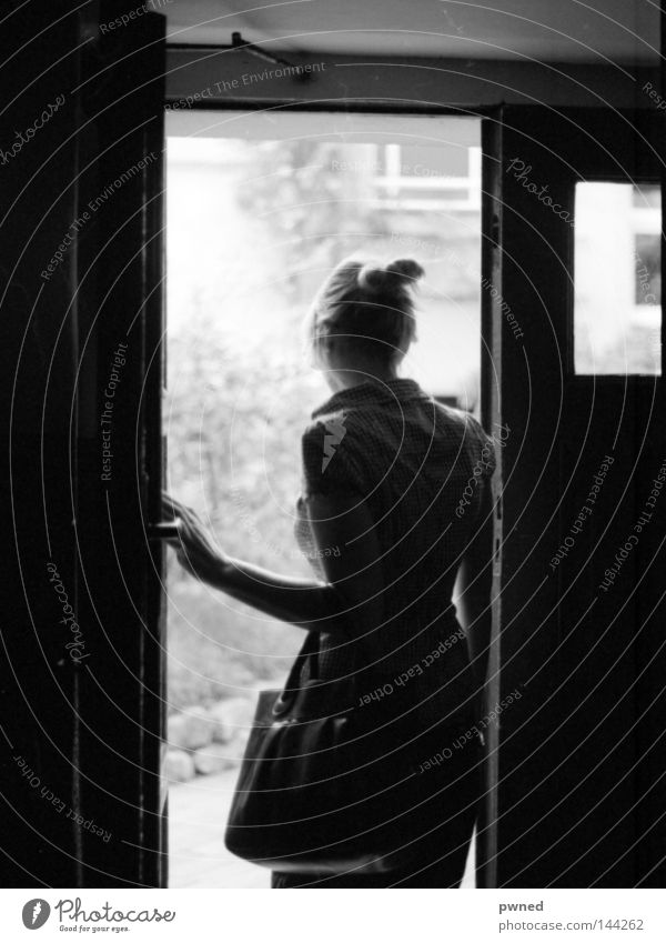 yard walk Black & white photo Contrast Woman Door Back-light Rear view Transience Seventies Europe pentax