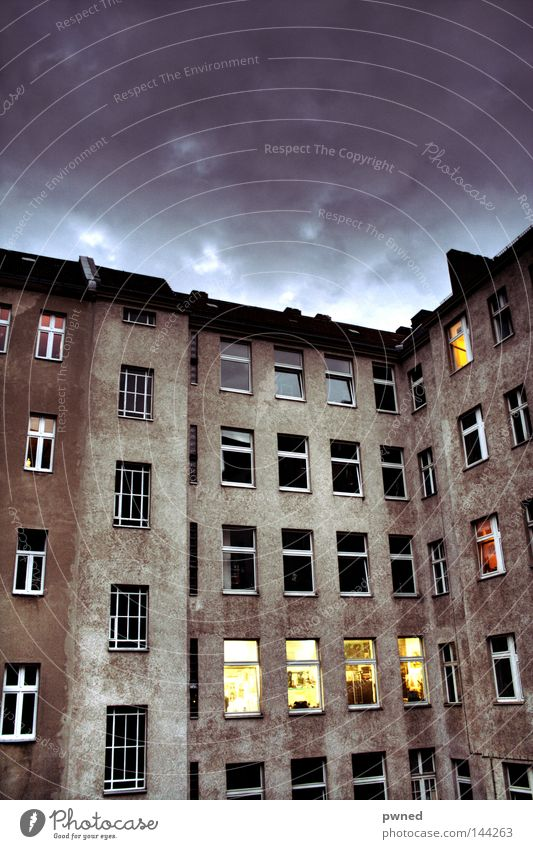 tenement HDR Backyard House (Residential Structure) Night Window Contrast Perspective Architecture Sky