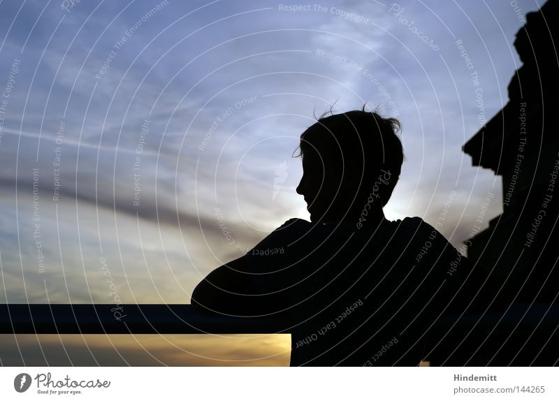 Profile Manmade structures Head Hair and hairstyles Glass Twilight Evening Sky Nose Shoulder Clouds Summer Sun Sunset Youth (Young adults) Vacation & Travel
