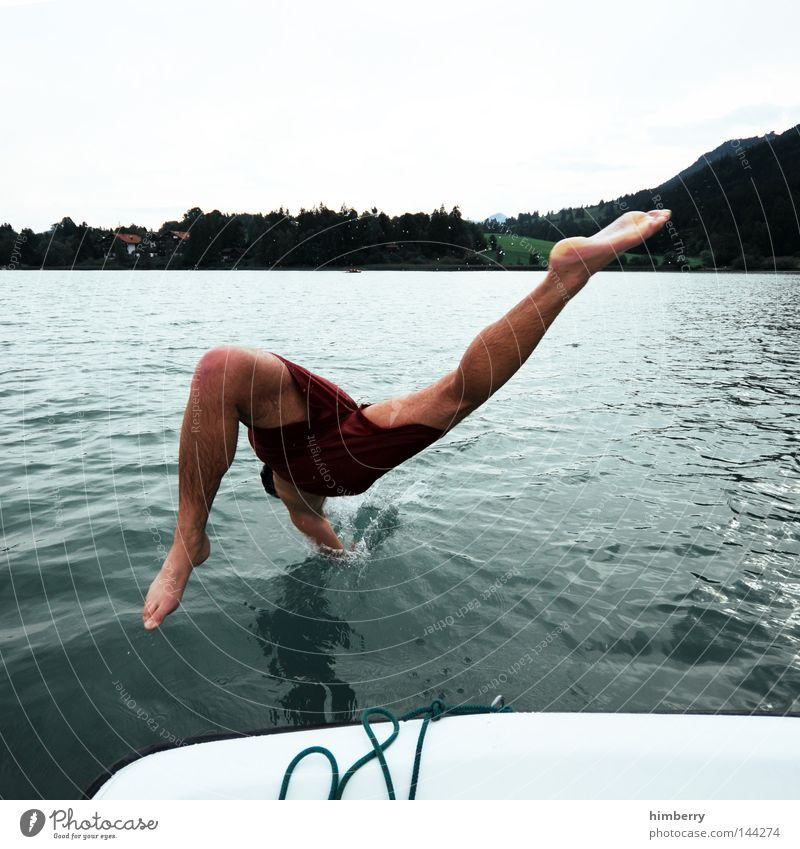 Sky Youth (Young adults) Hand Vacation & Travel Summer Relaxation Cold Mountain Playing Jump Lake Watercraft Germany Weather Swimming & Bathing