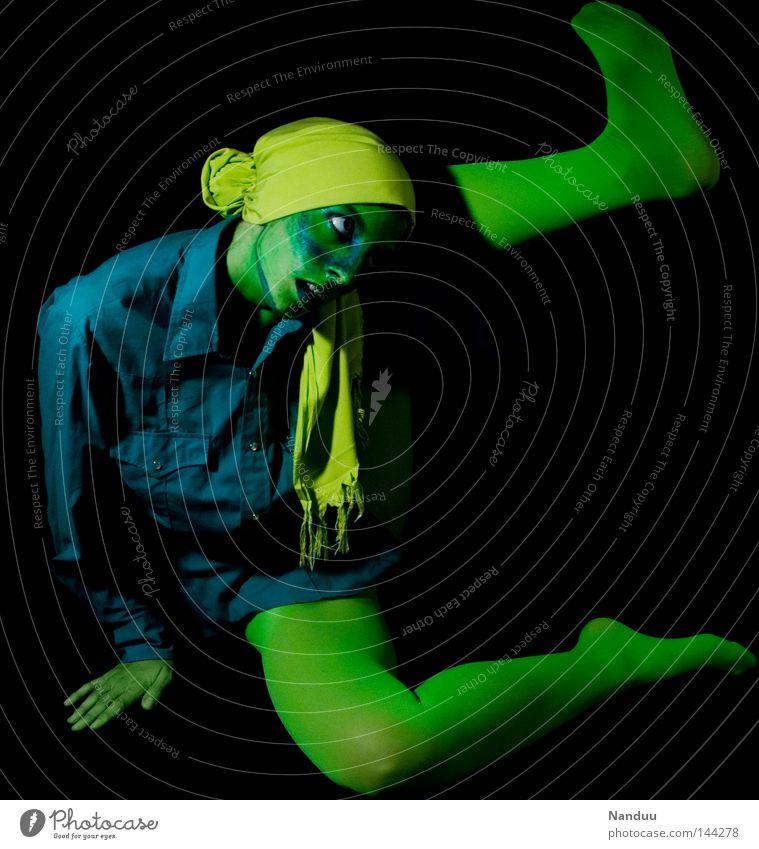 Human being Blue Green Black Yellow Dark Emotions Sadness Dream Art Dance Sit Grief Posture Cloth Culture