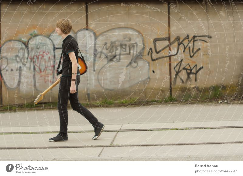 on the way Human being Masculine Young man Youth (Young adults) Body 1 18 - 30 years Adults Going Bright Future Guitar Electric guitar Black Graffiti