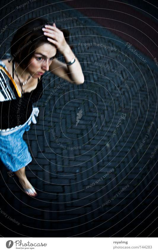 Woman Blue Black Street Fear Walking Hunting Sidewalk Stress Panic Problem Dull