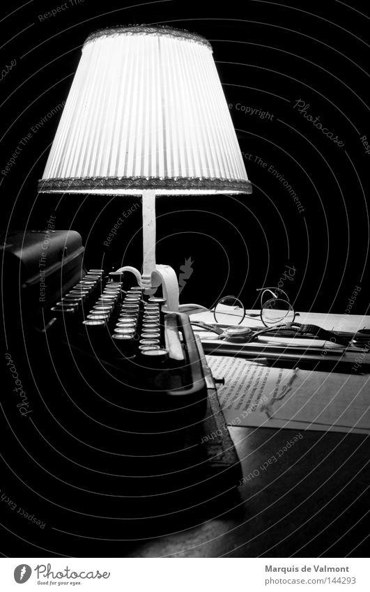 night shift Calm Lamp Desk Work and employment Scissors Media Wristwatch Eyeglasses Pen Old Discover Write Dark Retro Moody Loneliness Shift work Typewriter