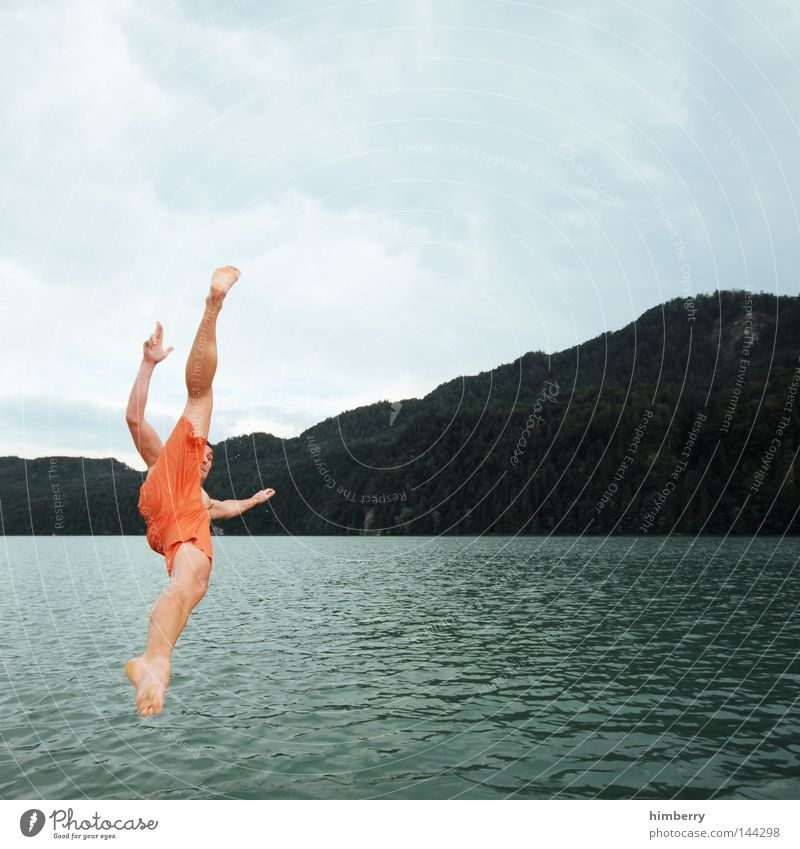 Sky Man Youth (Young adults) Hand Vacation & Travel Summer Relaxation Cold Mountain Playing Jump Lake Germany Weather Swimming & Bathing Leisure and hobbies
