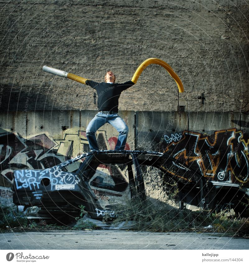 Human being Man Hand Yellow Graffiti Wall (building) Style Car Wild animal Arm Multiple Concrete Crazy Future Trash