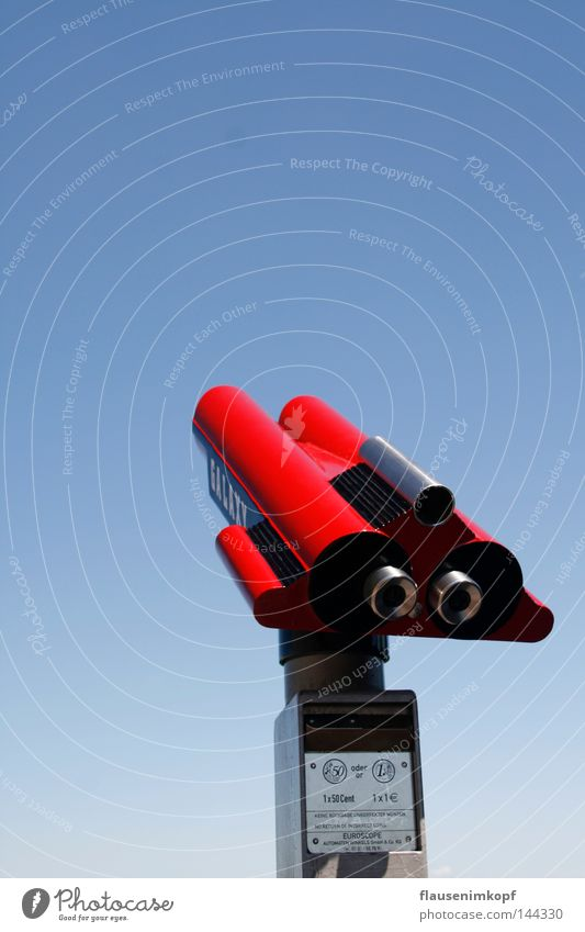 distant view Telescope Vantage point Far-off places Beautiful weather Blue sky Red Wanderlust Success