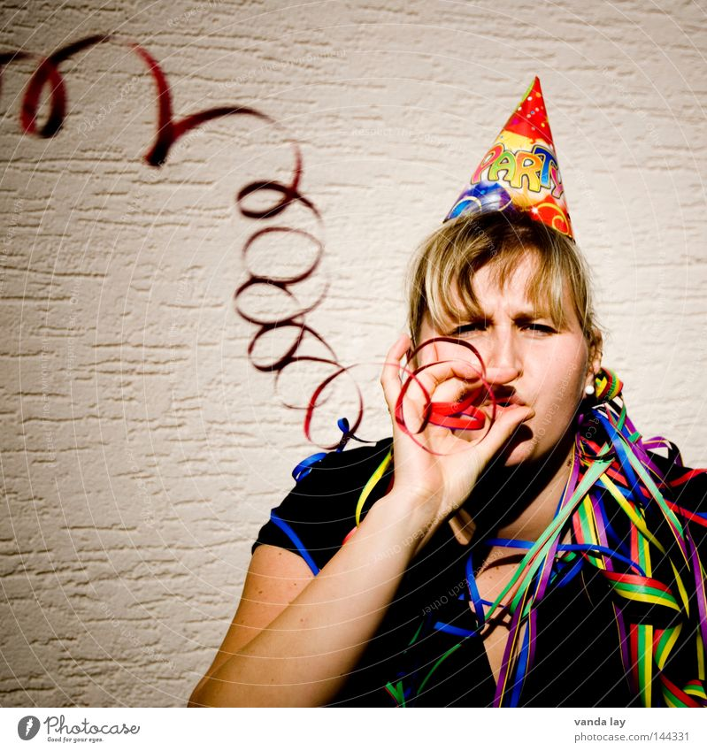 ...from behind on the shoulders... Party Birthday Paper streamers Hat Woman Blonde Blow Carnival Whim Good New Year's Eve Joy Feasts & Celebrations Yek Life