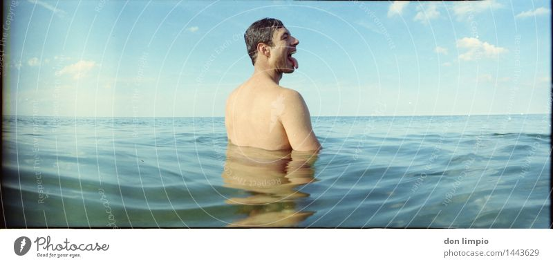 salt lick Body Well-being Calm Swimming & Bathing Far-off places Summer Ocean Masculine Young man Youth (Young adults) 1 Human being 30 - 45 years Adults Sky