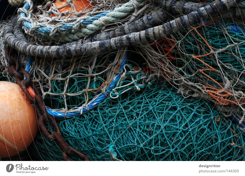 Network Ocean Lake Baltic Sea Maritime Heap Stack Fishing net Canned fish Fishing boat Fishing (Angle) Fishery Fisherman Buoy Chain Harbour Fishing port Odor