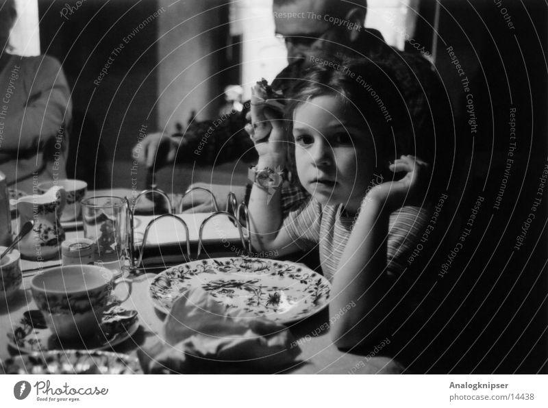 dreamer Child Girl Father Portrait photograph Nutrition Black & white photo Dim depth blur