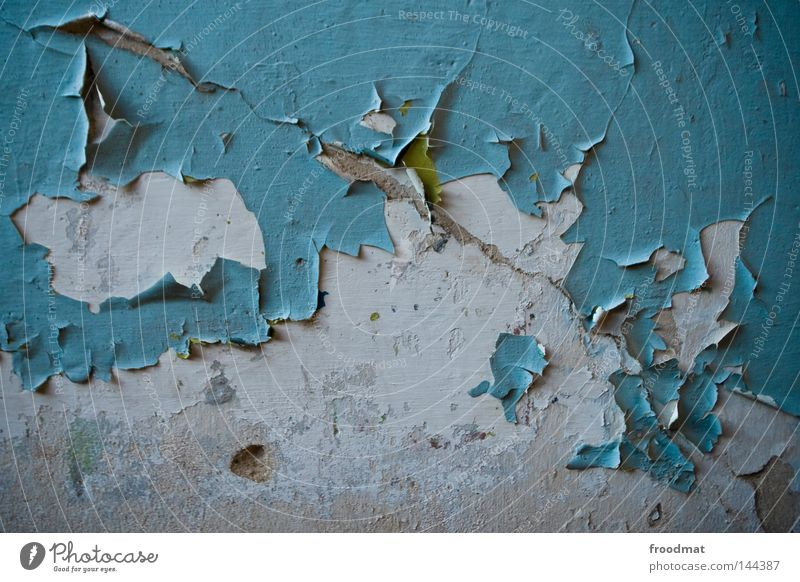Old Blue Loneliness Colour Cold Wall (building) Dye Germany Background picture Concrete Broken Dresden Wallpaper Derelict Wrinkles Decline
