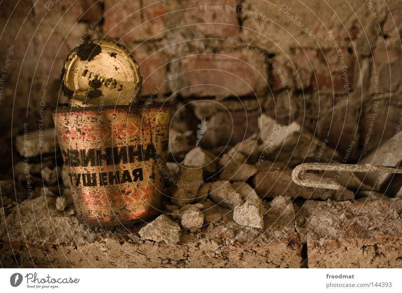 Old Loneliness Nutrition Wall (building) Stone Food Metal Germany Broken Retro Metalware Transience Trash Derelict Dresden Brick