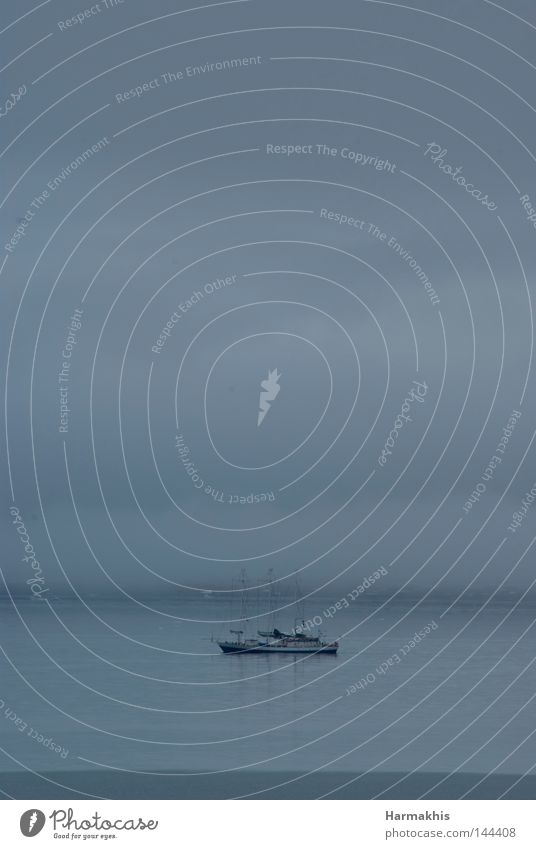 Water Ocean Calm Clouds Loneliness Gray Sadness Lake Watercraft Waves Fog Trip Peace Science & Research Bay Navigation