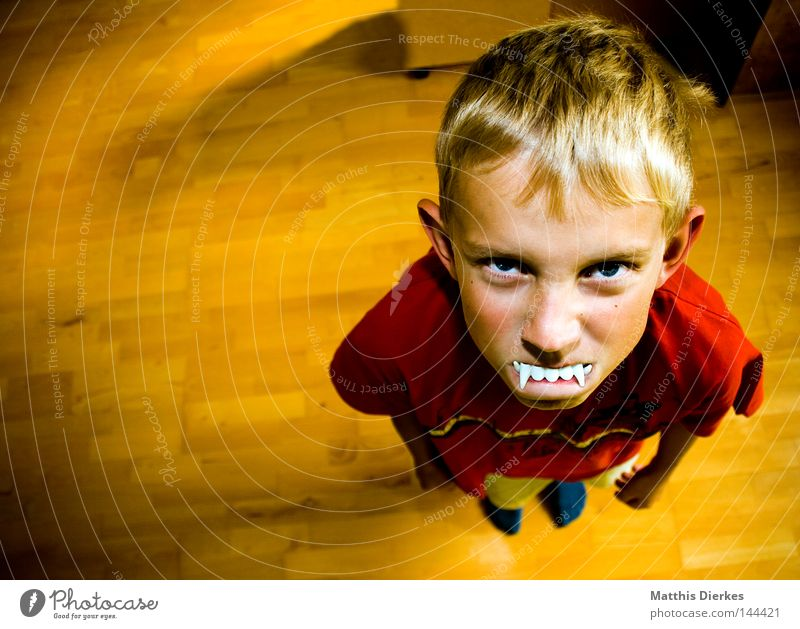 vampire Hair and hairstyles Face Child Human being Boy (child) Teeth 8 - 13 years Infancy T-shirt Blonde Small Funny Anger Red Self-confident Aggravation