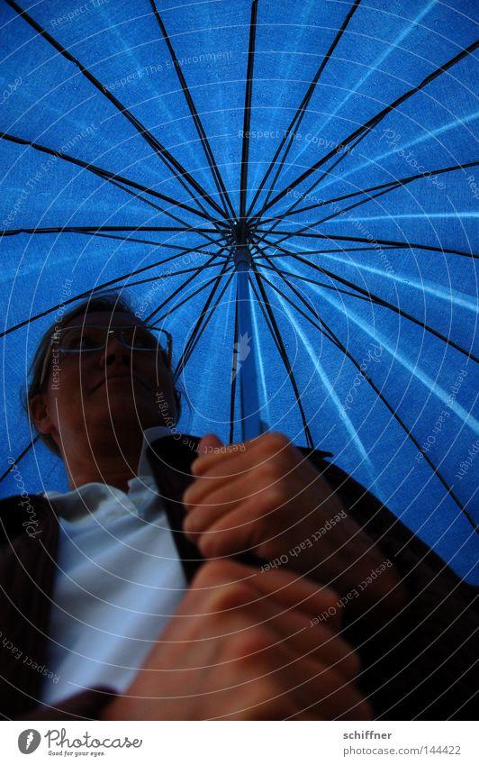 Woman Hand Blue Rain Lighting Weather Wet T-shirt Eyeglasses Umbrella To hold on Sunshade Thunder and lightning Damp Blue sky Brilliant
