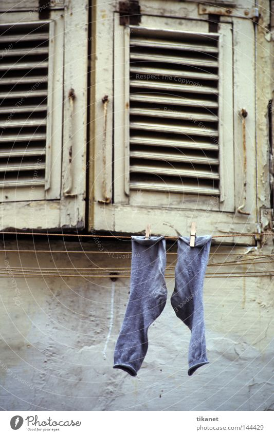 Old Blue Wood Dye Clothing Facade Derelict Decline Stockings Laundry Household Wool Clothesline Shutter