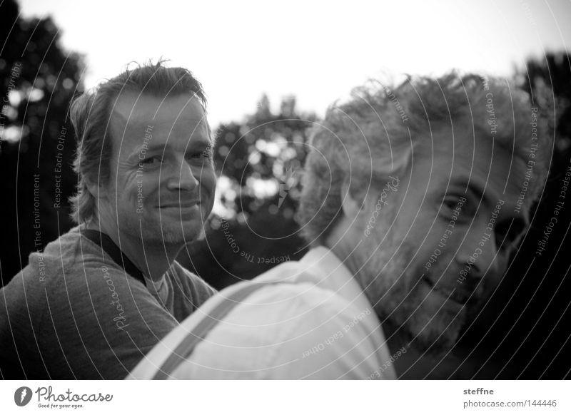 2722 Portrait photograph Human being Man Congenial Friendliness Park la chamandu kallejipp Zettberlin Laughter full sweet the two