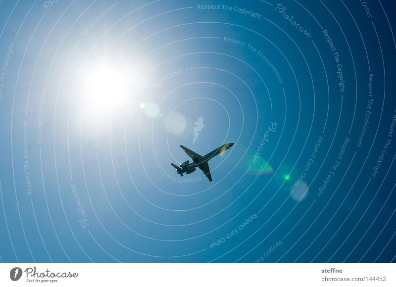 Sun Vacation & Travel Freedom Airplane Flying Aviation Beautiful weather Blue sky Jet Celestial bodies and the universe