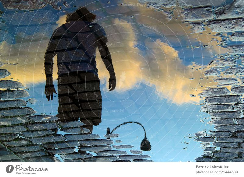 Human being Sky Man City Summer Water Loneliness Clouds Adults Environment Street Movement Going Masculine Earth Body