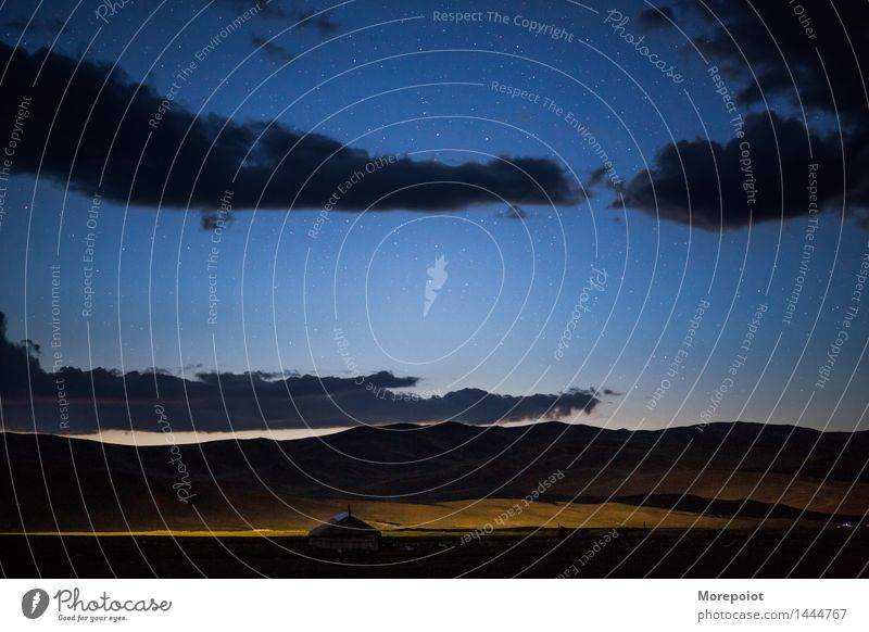 Yurt in the field in night Altay Night Night sky Nomad tent nomadic life Stars Clouds Night shot Exterior shot Colour photo Nature Hill Horizon mountains Light
