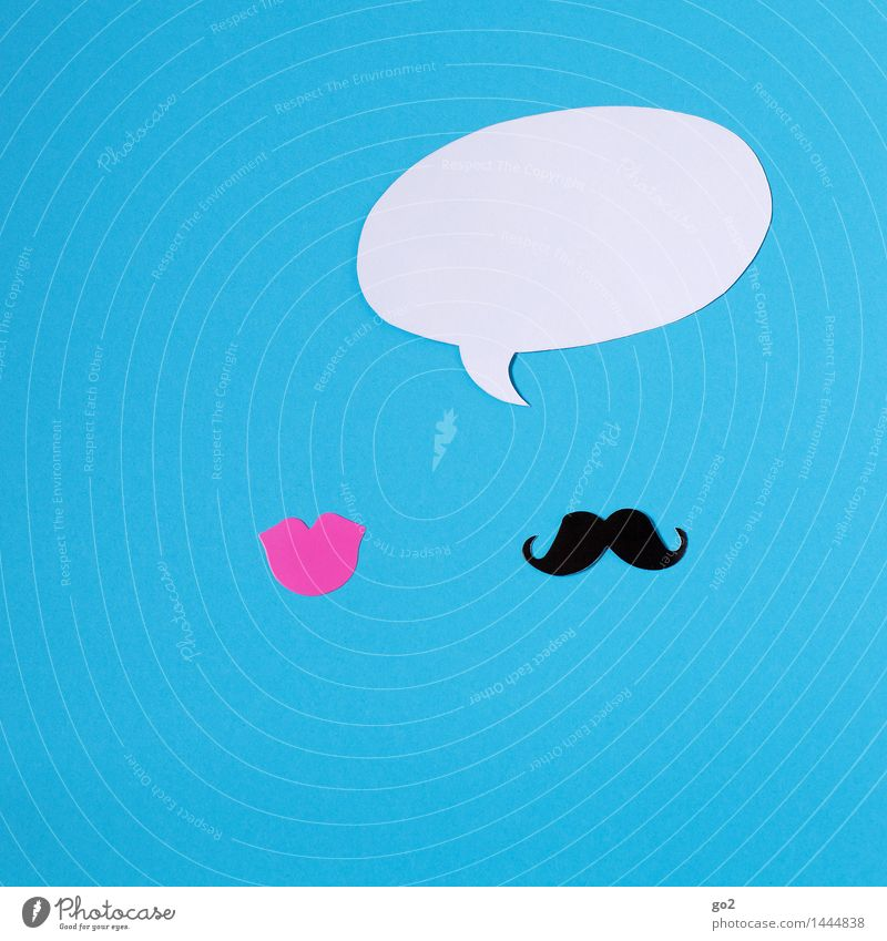 He says Woman Adults Man Mouth Lips Moustache Speech bubble Sign To talk Communicate To call someone (telephone) Esthetic Simple Blue Pink Black White