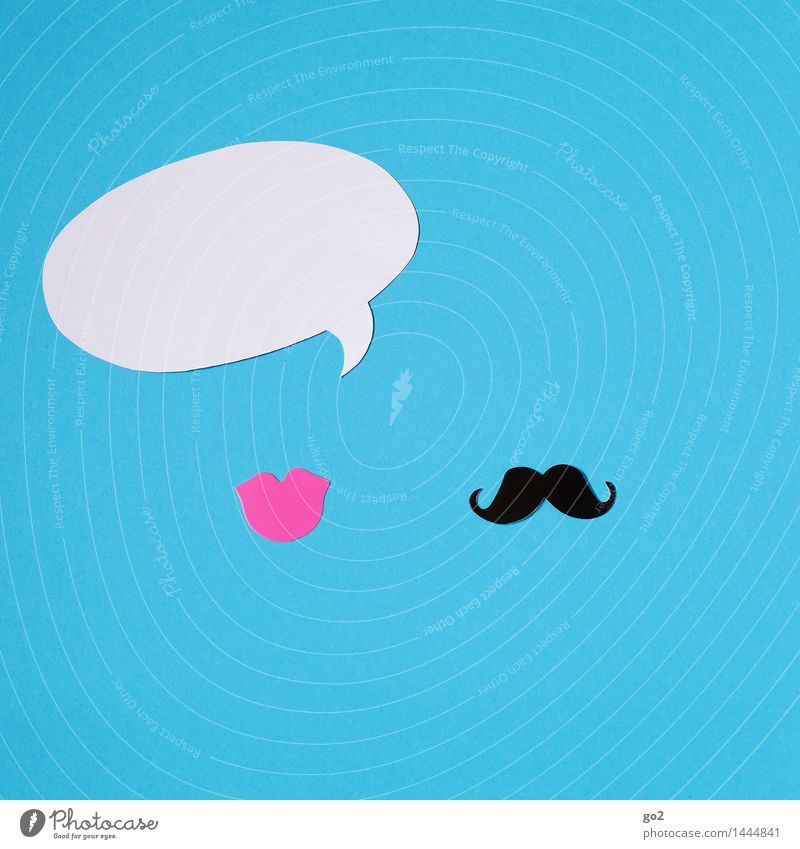 She says Masculine Feminine Mouth Lips Moustache Speech bubble Sign To talk Communicate To call someone (telephone) Blue Pink Black White Relationship Argument