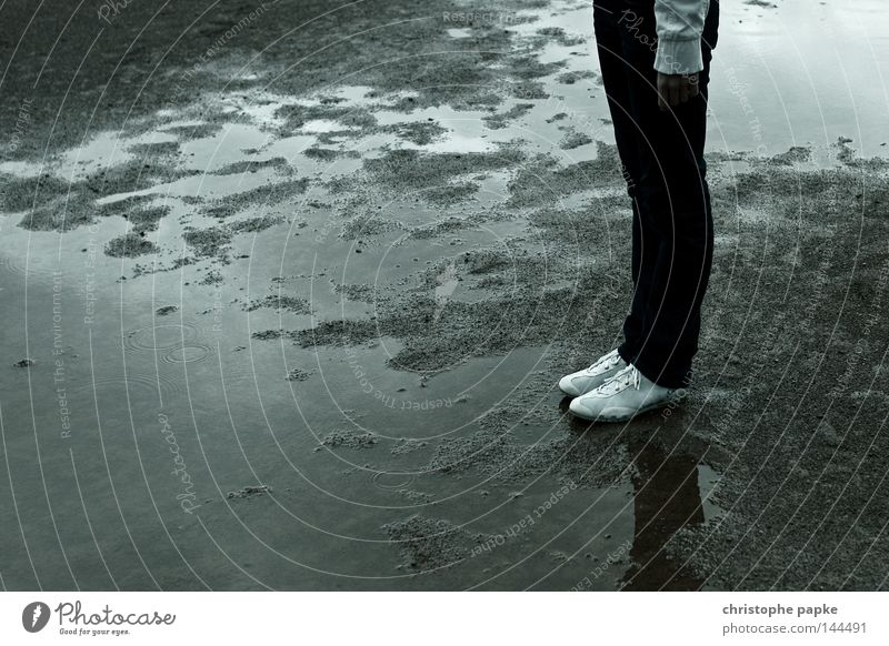no sports Puddle Footwear Sand Rain Wet Jeans Legs Stand Woman Contrast Dirty Gray Reflection Trouser leg Water puddle Bad weather Rainwater Gloomy 1 Person