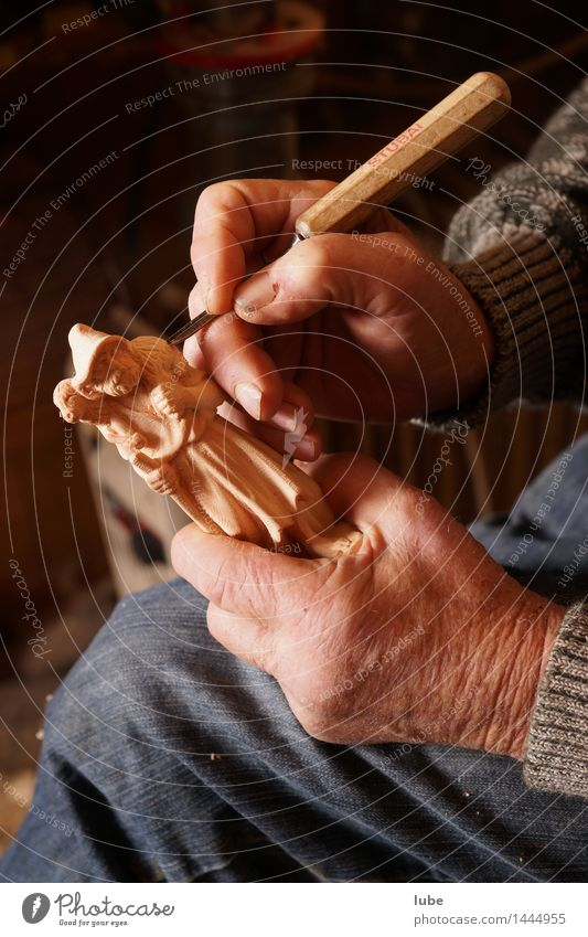 Man Hand Senior citizen Wood Art Work and employment 60 years and older Fingers Male senior Workplace Artist Craftsperson Manger Carving