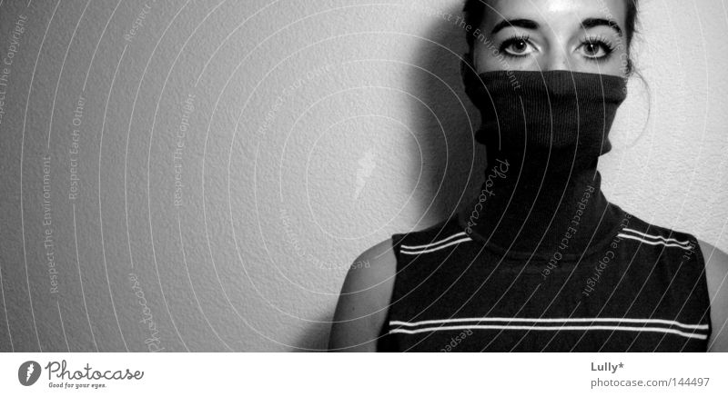 Lies can be told with your eyes Black White Eyes Calm Peace Stripe Sweater Masked Hide Hidden Perplexed Portrait photograph Simple Shadow Black & white photo