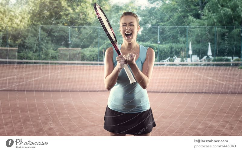 Three Quarter Length Portrait of Athletic Blond Woman Happy Body Face Playing Sports Success Adults Blonde Fitness Scream Thin Competition Tennis athletic