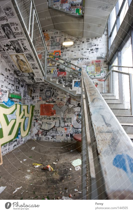 upstairs Stairs Upward Graffiti Staircase (Hallway) Berlin Derelict Mural painting tacheles decay