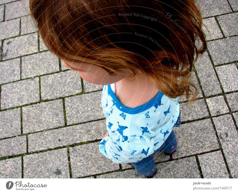 Human being Child Girl Playing Head Hair and hairstyles Small Stone Power Arm Arrangement Tall Places Large Force