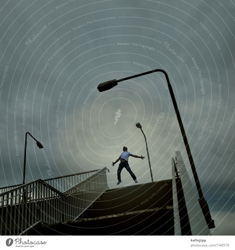 Human being Man Joy Life Lighting Lifestyle Flying Above Jump Stairs Success Technology Electricity Bridge Logistics Level